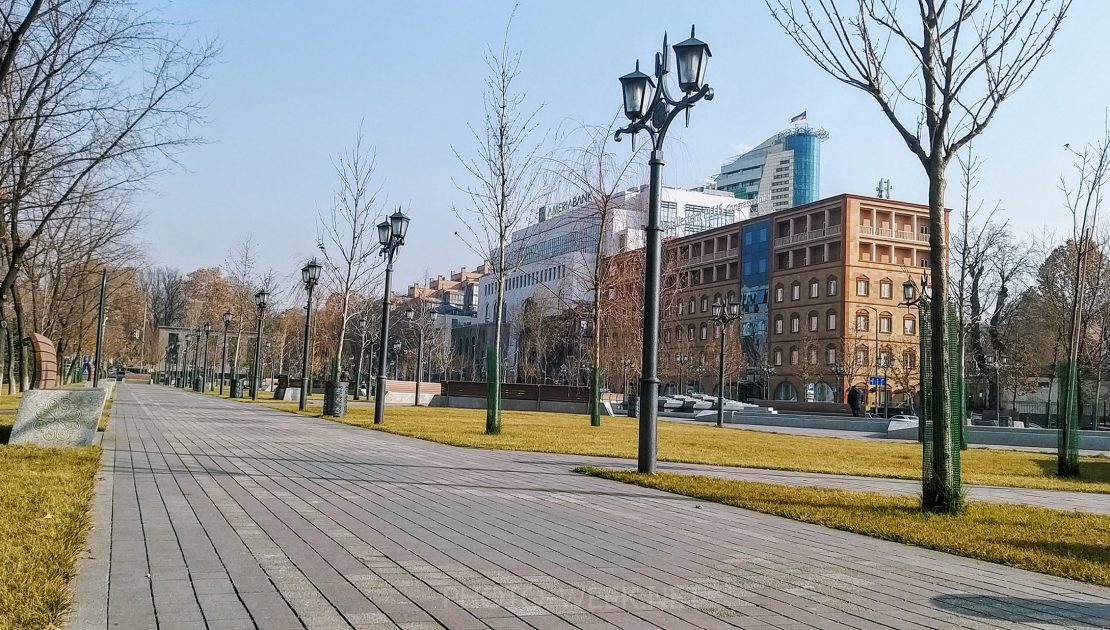 Central park and business centers in Yerevan, Armenia